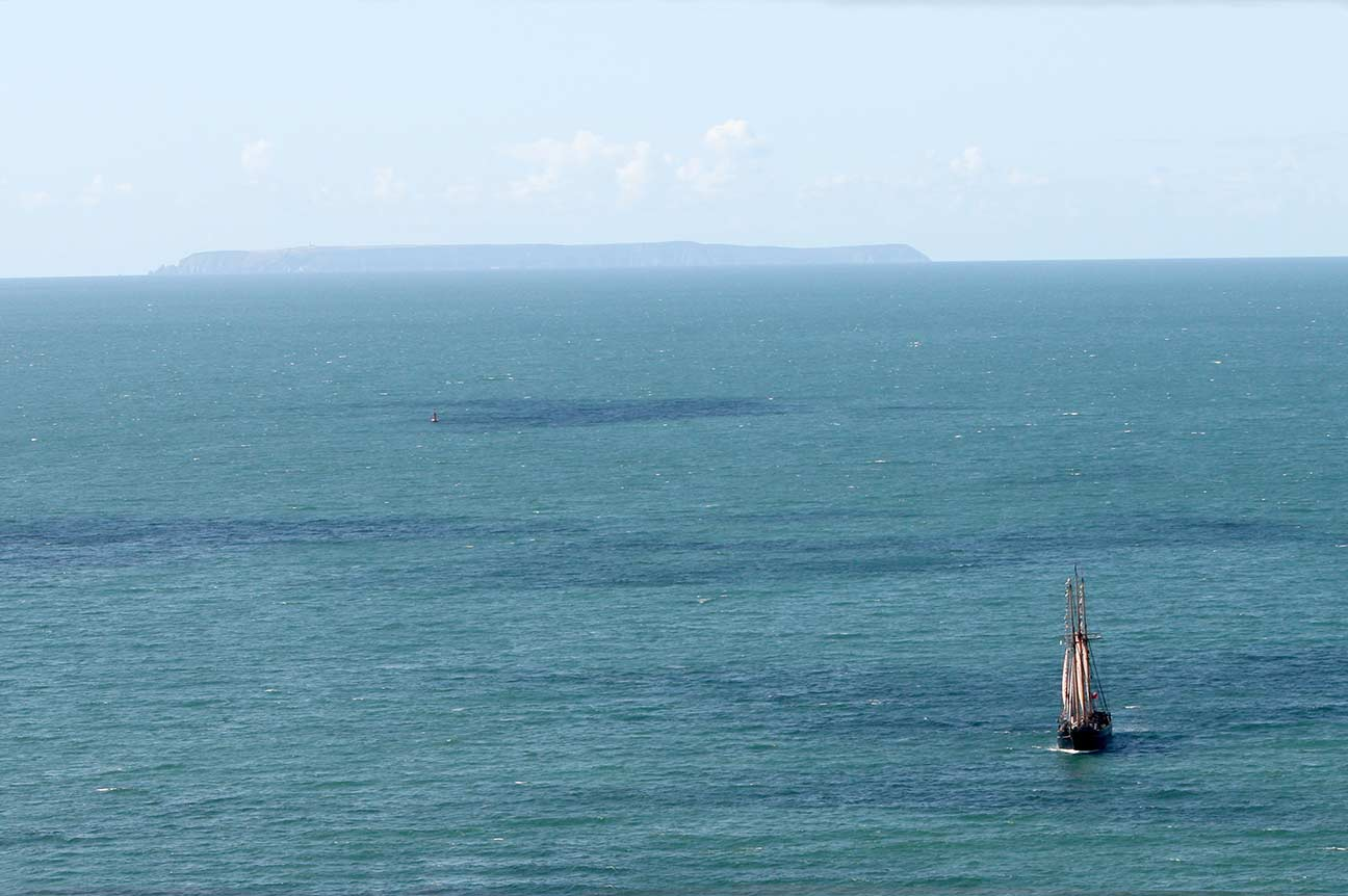 Sailing Ship with Lundy in the distance